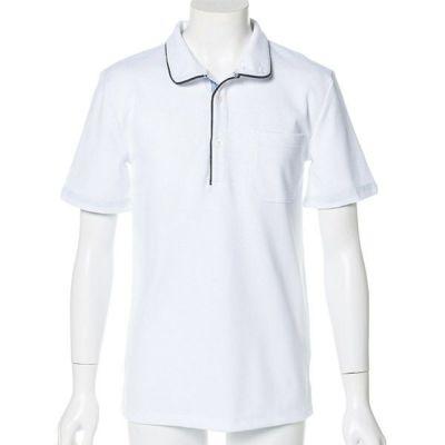 オックス鹿の子スタンド襟半袖ポロシャツ(ホワイト)
