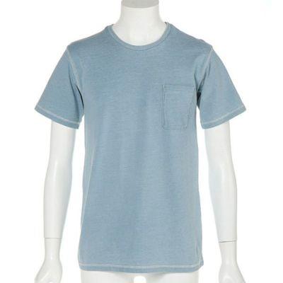 天笠インディゴ半袖Tシャツ(ブリーチ)