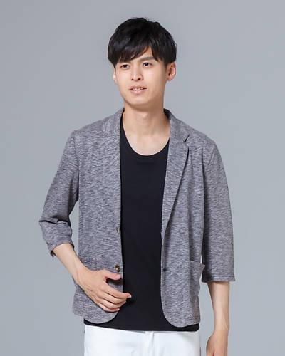 カット六分袖ジャケット(杢グレー)