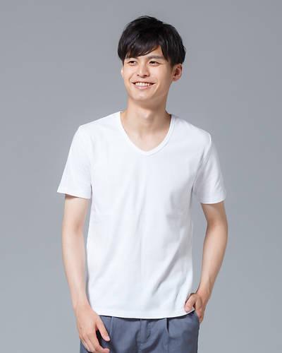 スパンフライスVネック半袖Tシャツ(ホワイト)