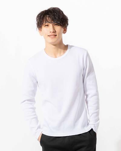 ワッフルクルーネック長袖Tシャツ(ホワイト)