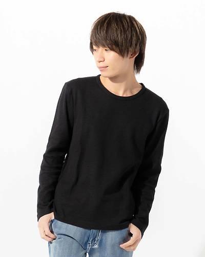 ワッフルクルーネック長袖Tシャツ(ブラック)