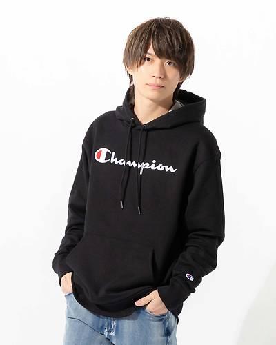 【Champion (チャンピオン)】メンズ裏起毛フード付きパーカー(ブラック)