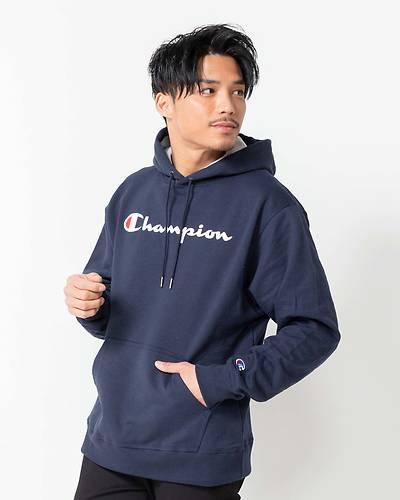 【Champion (チャンピオン)】メンズ裏起毛フード付きパーカー(ネイビー)