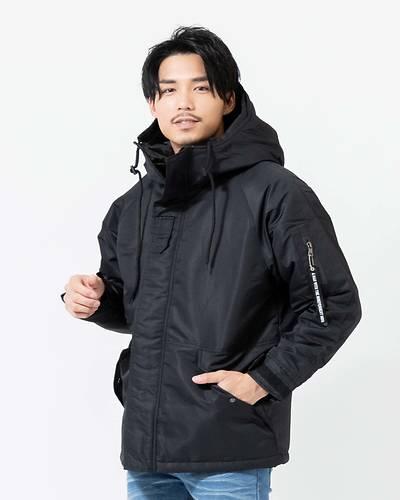 ナイロン中綿ミリタリージャケット(ブラック)