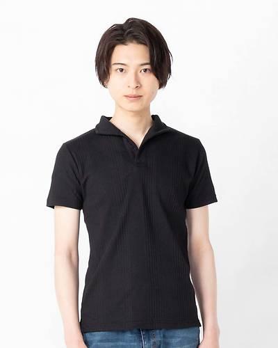 ランダムテレコ襟ワイヤーポロシャツ(ブラック)