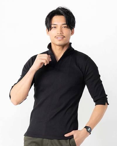 ランダムテレコ襟ワイヤー七分袖ポロシャツ(ブラック)