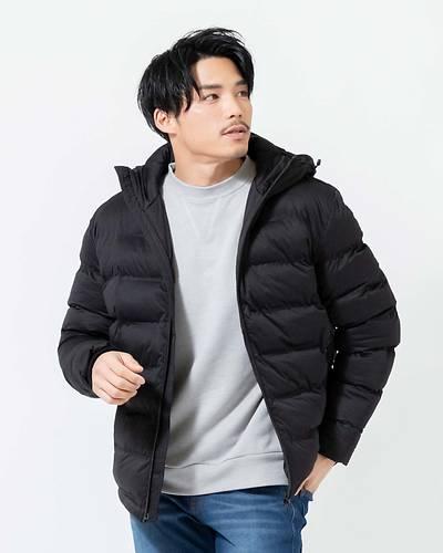 シームレス中綿フードジャケット(ブラック)