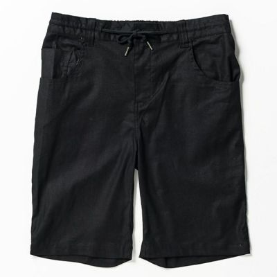 綿麻ストレッチショートパンツ(ブラック)