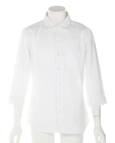 綿麻七分袖シャツ(ホワイト)