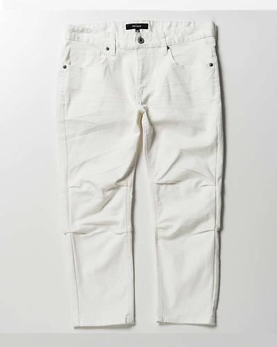膝タッククロップドパンツ(ホワイト)