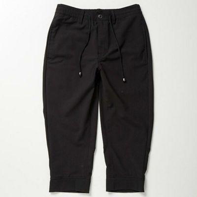 TR素材裾リブクロップドパンツ(ブラック)