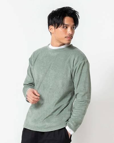 もちもちトップス+モックネック長袖Tシャツアンサンブル(2点セット)(スモーキーグリーン)