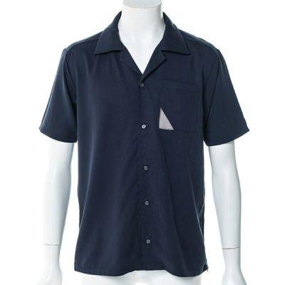 オープンカラー半袖シャツ(ネイビー)