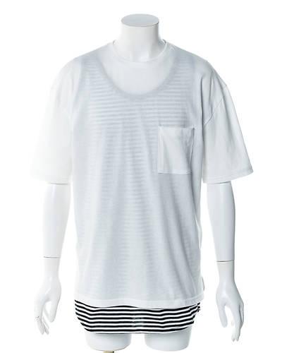 五分袖Tシャツ+タンクトップアンサンブル(2点セット)(ホワイト)