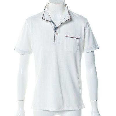 鹿の子半袖ポロシャツ(ホワイト)