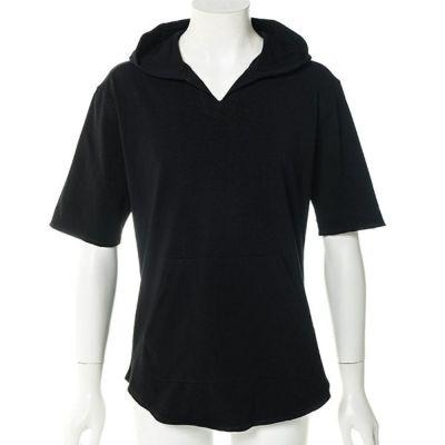 カットオフスキッパー五分袖プルパーカー(ブラック)