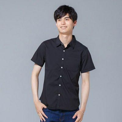 ストレッチブロード半袖シャツ(ブラック)