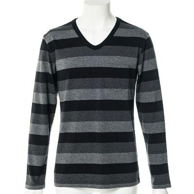 三色ボーダー長袖Tシャツ(ブラック)