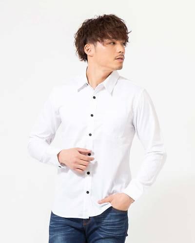 ストレッチレギュラー長袖シャツ(ホワイト)