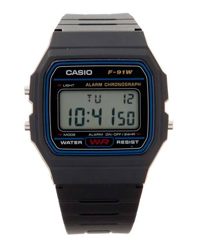 【CASIO(カシオ)】スタンダードデジタルウォッチ腕時計・日常生活防水&LEDライトつきF-91W-1JF(ブラック)