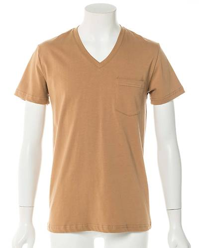 Vネック半袖Tシャツ(ベージュ)