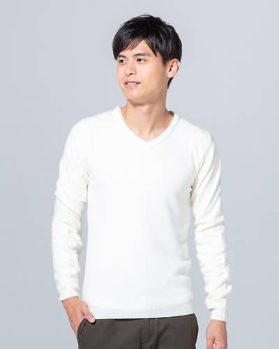 カシミヤタッチVネック長袖ニット(ホワイト)