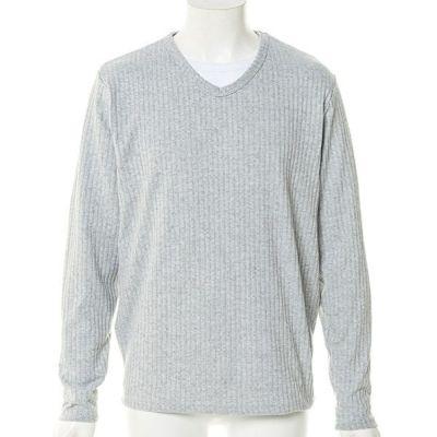 針抜きVネックニットソー+長袖Tシャツアンサンブル(2点セット)(グレー)
