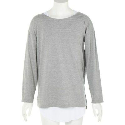ジャガードビッグ長袖Tシャツ+タンクトップアンサンブル(2点セット)(グレー)