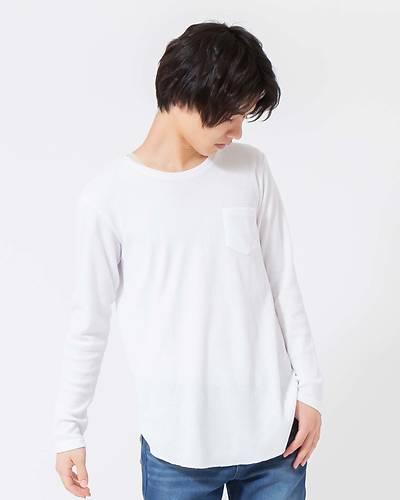 ワッフルロング長袖Tシャツ(ホワイト)