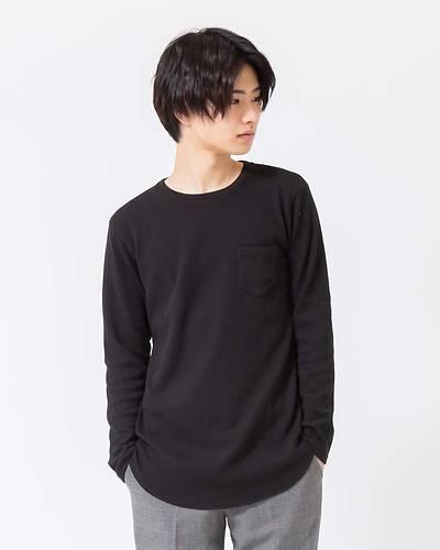 ワッフルロング長袖Tシャツ(ブラック)