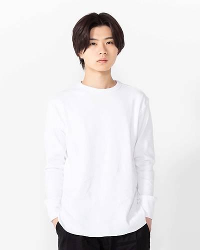 ユニセックスハニカムストレッチプルオーバー長袖Tシャツ(ホワイト)