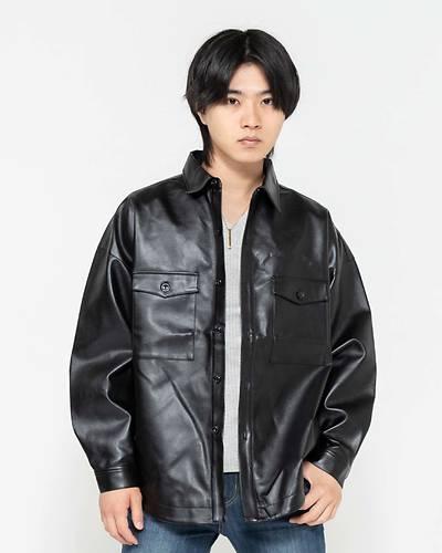 PUレザーCPOジャケット(ブラック)