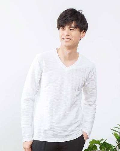 タックジャガードVネック長袖Tシャツ(ホワイト)