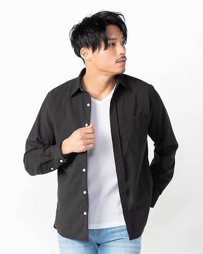 ポリラミーレギュラー長袖カラーシャツ(ブラック)