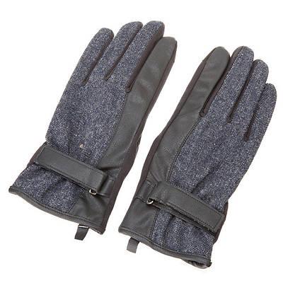 ツイードPU手袋(ネイビー)