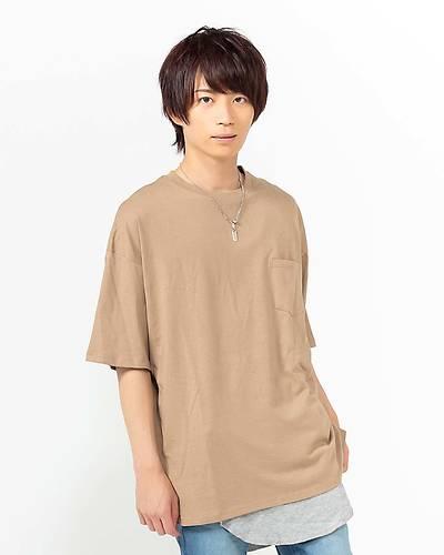 五分袖Tシャツ+天竺サーマルタンクトップアンサンブル(2点セット)(ベージュ)