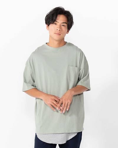 五分袖Tシャツ+天竺サーマルタンクトップアンサンブル(2点セット)(サックス)