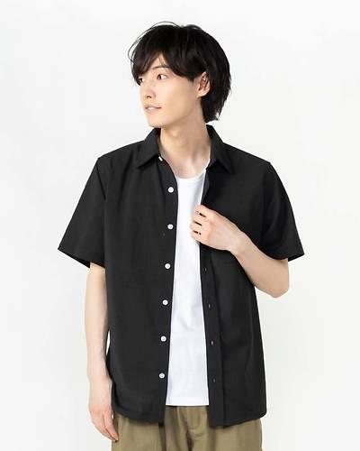 ポリラミーバンドカラー半袖シャツ(ブラック)
