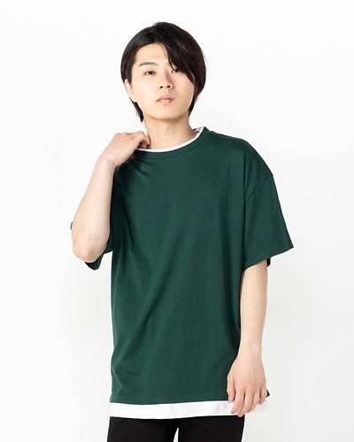 ビッグシルエットWネック五分袖Tシャツ(グリーン)