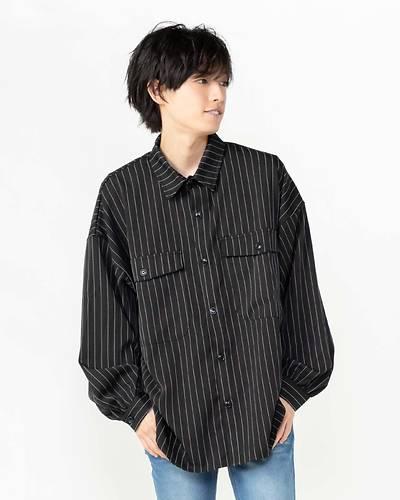 ピンストライプバルーンスリーブCPOシャツ(ブラック)