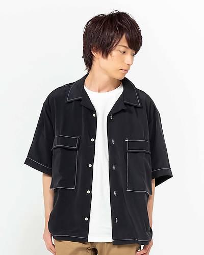 ポリエステル無地ビッグザイズステッチングシャツ(ブラック)