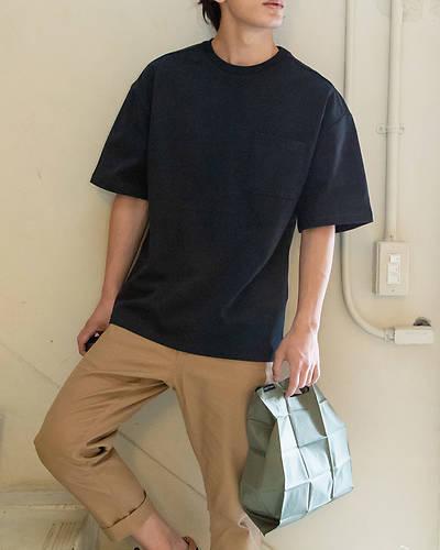 OE天竺五分袖Tシャツ(ブラック)