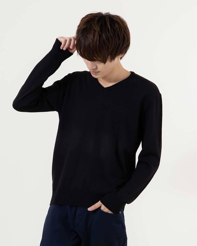 カシミヤタッチVネック長袖ニット(ブラック)