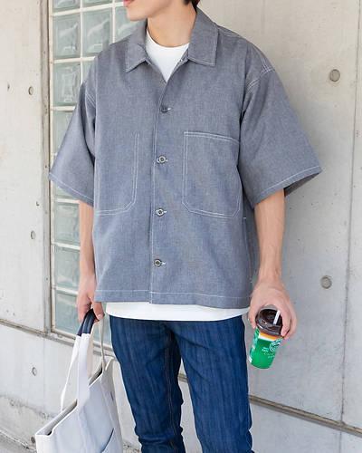 ポリトロビッグサイズステッチングシャツ(グレー)