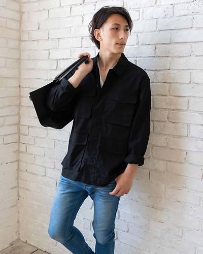 綿麻ストレッチミリタリーシャツジャケット(ブラック)