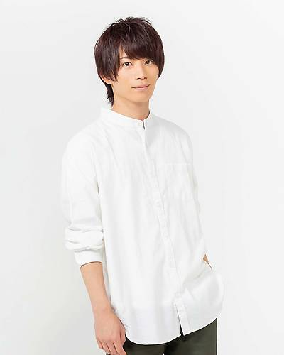 綿麻ストレッチバンドカラーシャツ(ホワイト)