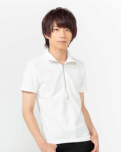 ハーフジップ半袖Tシャツ(ホワイト)