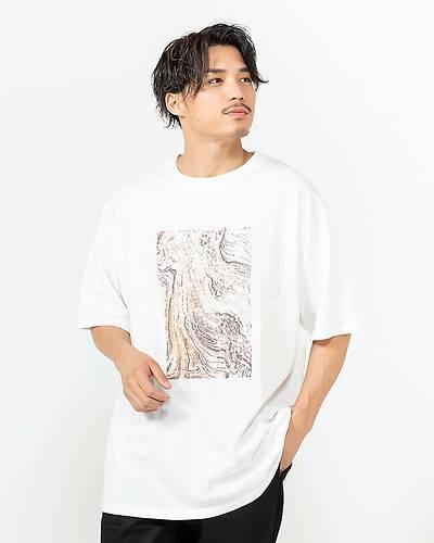 アート柄プリント半袖Tシャツ(オフホワイト)