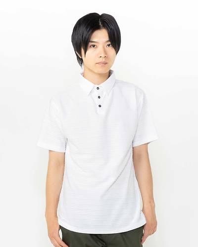 接触冷感タックジャガード半袖ポロシャツ(ホワイト)